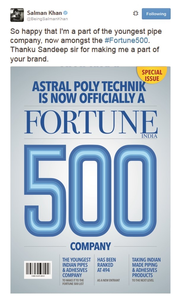 Thanks @BeingSalmanKhan for helping us become the youngest Pipes & Adhesives Co. to make it to Fortune India 500.