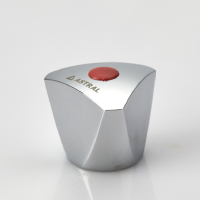 FANCY HANDLE (KNOB) WITH RED & BLUE PLASTIC BUTTON (TRIANGLE)